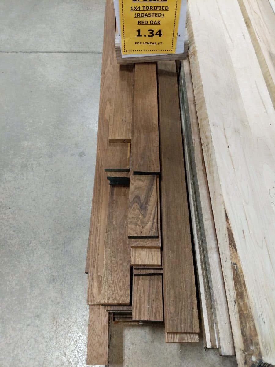 1x4 Torified Red Oak ($1.34/lnft)